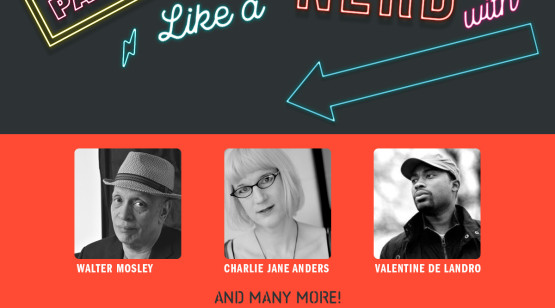 Party Like a Book Nerd image featuring Walter Mosley, Charlie Jane Anders, and Valentine De Landro