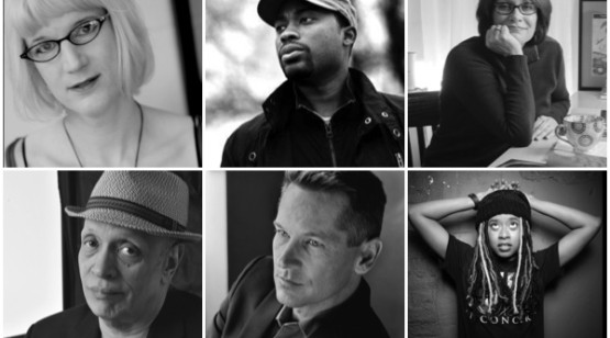 author photo collage including Charlie Jane Anders, Valentine De Landro, Meg Medina, Walter Mosley, Patrick Phillips, and Phoebe Robinson