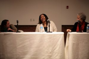 Left to right: moderator Jenn Northington, NK Jemisin, and Margaret Atwood had a lively discussion of world-building.
