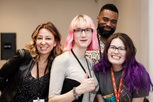 Left to right: Janna Levin, Charlie Jane Anders, Valentine De Landro, and moderator María Cristina Garcia Lynch after their Future What Now panel.