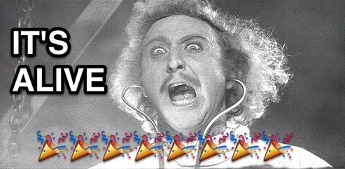 Photo of Gene Wilder from Young Frankenstein with caption IT'S ALIVE and emoji confetti
