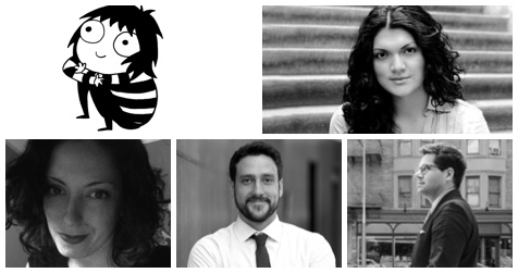 collage of Sarah Andersen, Zoraida Cordova, Emily Jacobson, Nick Higgins, and Ryan Chapman