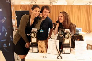 The team from Call Me Ishmael demonstrates their Kickstarted phones.